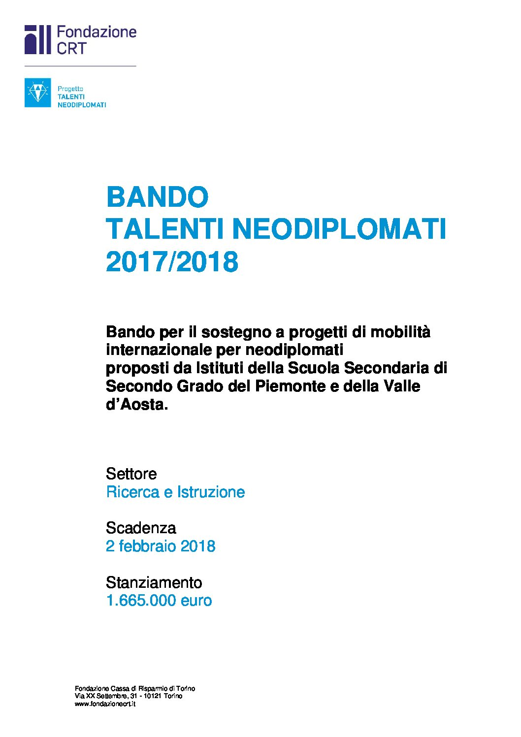 BANDO TALENTI NEODIPLOMATI 2017/2018