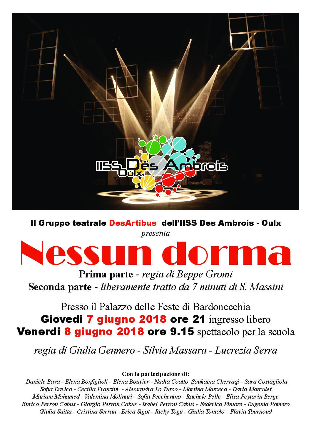 La DesArtibus presenta 'Nessun dorma 1 – 2' al Palazzo delle Feste di Bardonecchia!