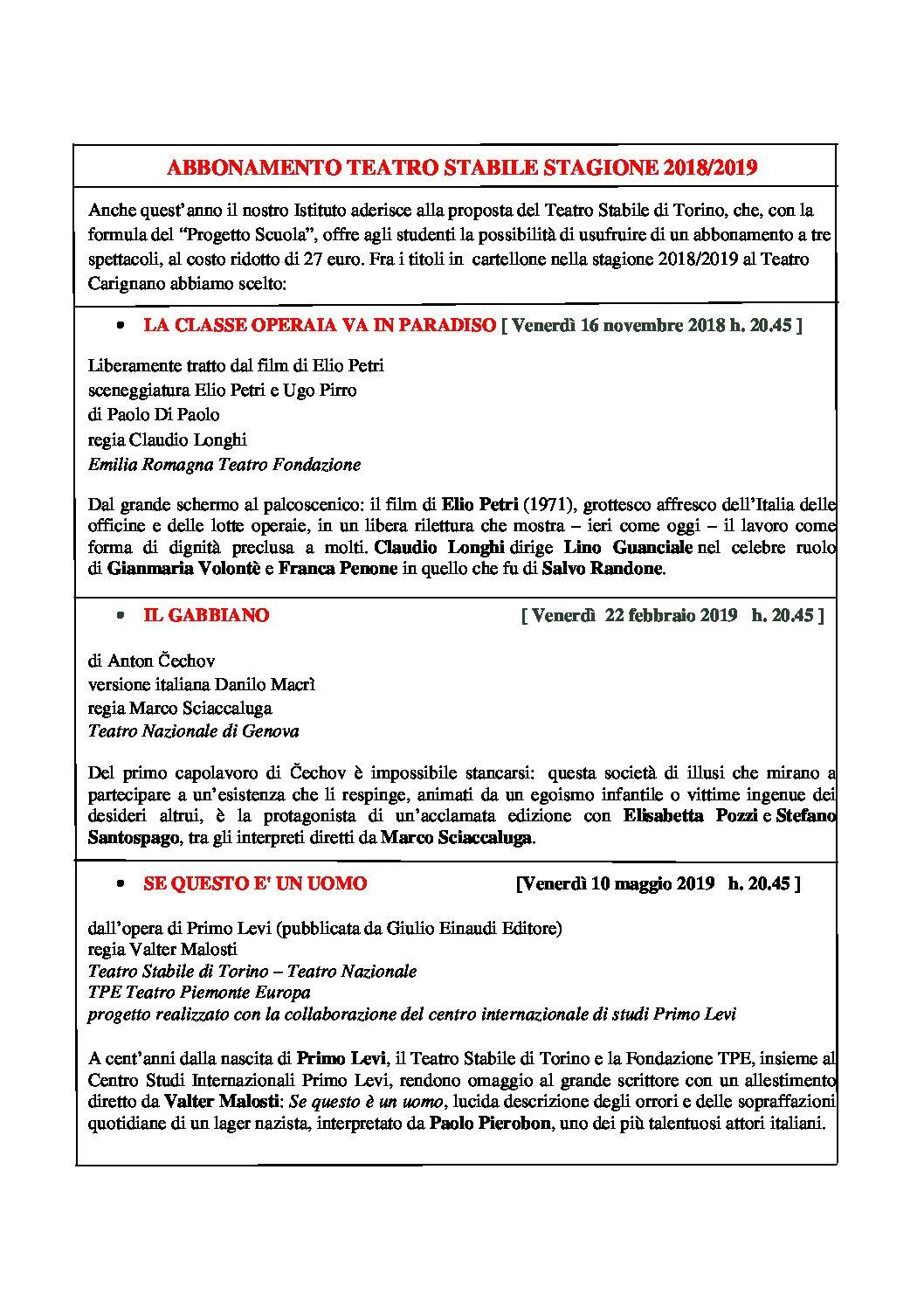 """Riparte la stagione degli spettacoli al teatro Carignano con il """" Teatro Stabile """""""