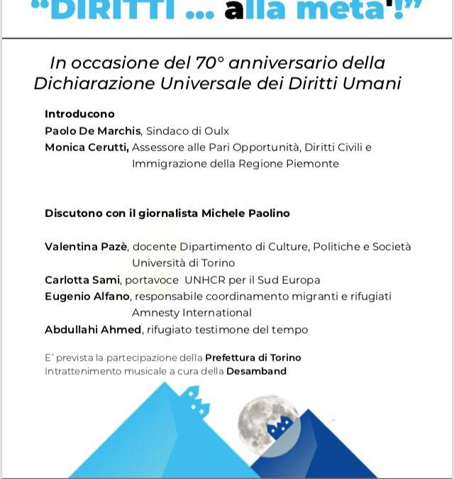 """In occasione del 70° anniversario dellaDichiarazione Universale dei Diritti Umani si terrà la conferenza""""DIRITTI … alla meta'!"""""""